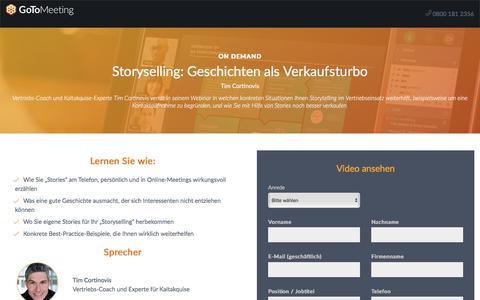Screenshot of Landing Page gotomeeting.com - Storyselling: Geschichten als Verkaufsturbo - captured April 14, 2018
