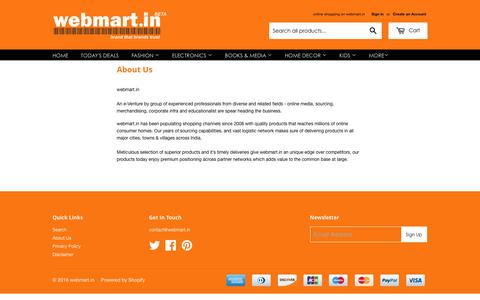 Screenshot of About Page webmart.in - About Us – webmart.in - captured Feb. 25, 2016