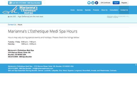 Screenshot of Hours Page mariannaskincare.com - Hours - Marianna's L'Esthetique Medi Spa - captured Nov. 19, 2016