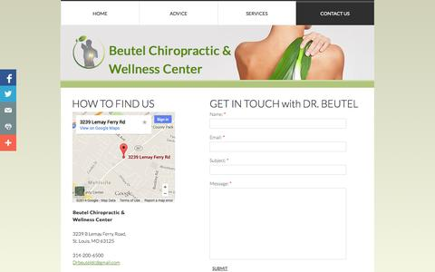 Screenshot of Privacy Page Contact Page beutelchiropractic.com - Contact Us - captured Oct. 23, 2014