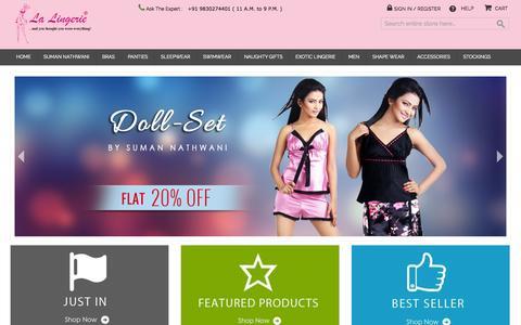 Screenshot of Home Page lalingerieindia.in - Buy Online Lingerie & Designing Bra, Sleepwear Essentials in India - captured Sept. 23, 2014