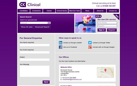 Screenshot of Contact Page ckclinical.co.uk - Contact us | CK Clinical - captured Sept. 26, 2014