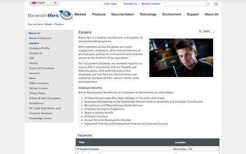 Screenshot of Jobs Page brand-rex.com - Careers | Brand-Rex Ltd. - captured Sept. 30, 2014