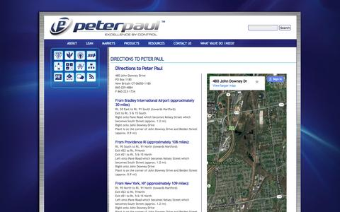 Screenshot of Maps & Directions Page peterpaul.com - DIRECTIONS TO PETER PAUL | Peter Paul - captured Nov. 5, 2016