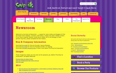 Screenshot of Press Page snipits.com - Newsroom » Snip-its - captured Sept. 19, 2014