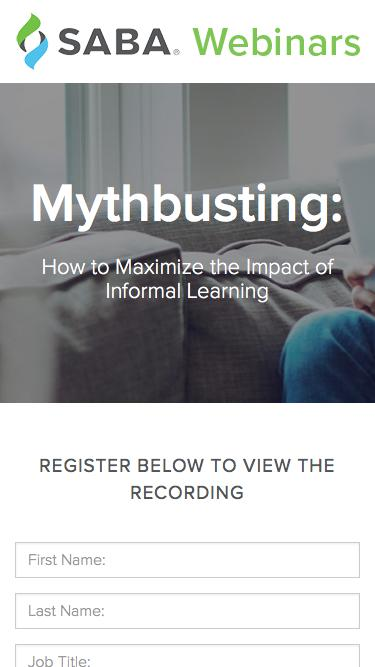 SABA Webinar - Mythbusting: How to Maximize the Impact of Informal Learning