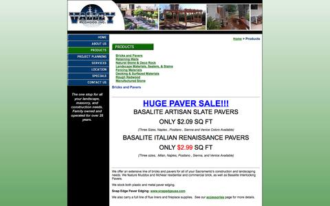 Screenshot of Products Page valleyredwood.com - Bricks and Pavers - captured Oct. 7, 2014