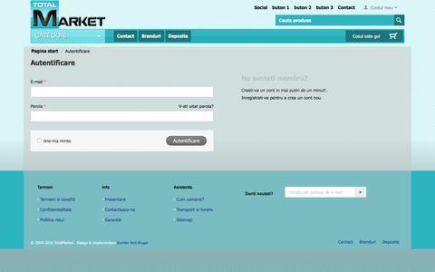 Screenshot of Login Page totalmarket.ro - Autentificare - captured Dec. 14, 2016