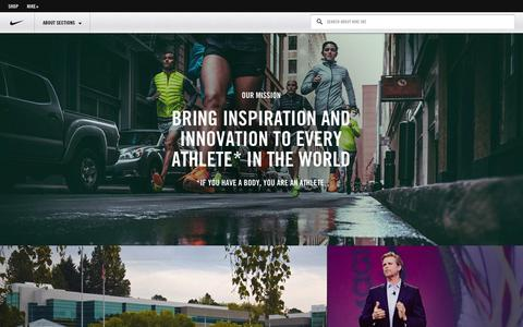 Screenshot of About Page nike.com - NIKE, Inc. - The official corporate website for Nike and its affiliate brands. - captured Oct. 29, 2014