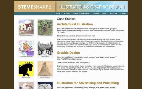 Screenshot of Case Studies Page sharpegraphics.co.uk - Case Studies - Steve SharpeSteve Sharpe - captured Jan. 1, 2017