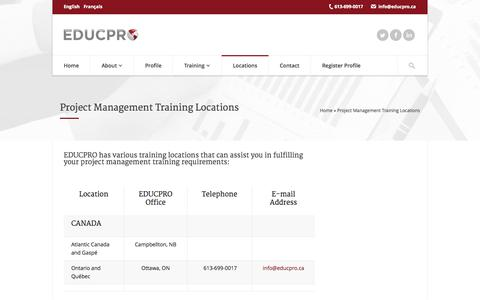 Screenshot of Locations Page educpro.ca - Project Management Training Locations - captured Sept. 26, 2014