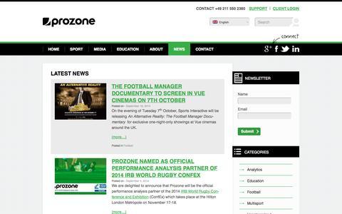 Screenshot of Press Page prozonesports.com - Latest news in sport - Prozone Sports - captured Sept. 19, 2014