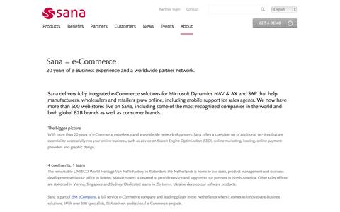 Screenshot of About Page sana-commerce.com - About | Sana Commerce - captured Sept. 23, 2014