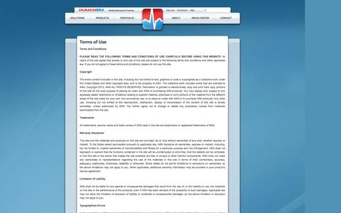 Screenshot of Terms Page humansim.com - HumanSim | Terms of Use | Serious Games - captured Oct. 3, 2014