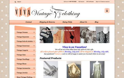 Screenshot of Home Page vivavintageclothing.com - Authentic Vintage Dresses and Accessories Online - Viva Vintage Clothing - captured June 30, 2018