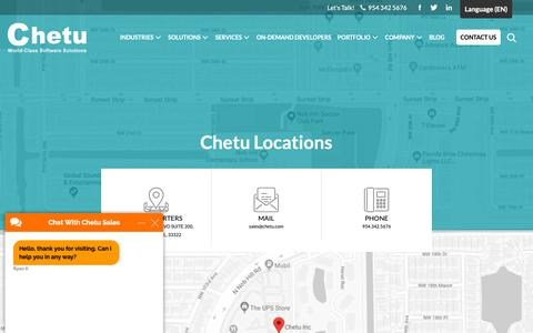 Screenshot of Locations Page chetu.com - Chetu Office Locations - captured June 3, 2019