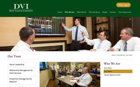 Screenshot of Team Page dviinc.com - Our Team | David Vaughan Investments, Inc. - captured Nov. 23, 2016