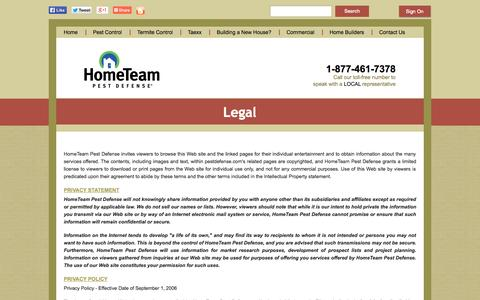 Screenshot of Terms Page pestdefense.com - Legal Notices/Privacy Policy - captured Sept. 19, 2014