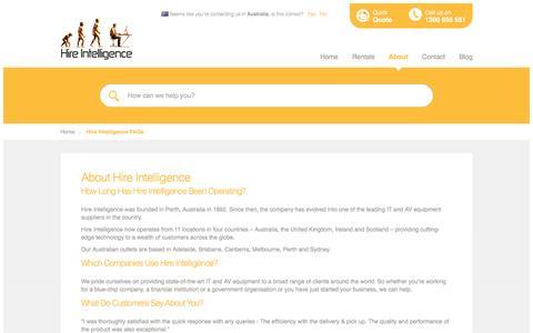 Screenshot of FAQ Page hire-intelligence.com.au - Hire Intelligence FAQs - captured Jan. 30, 2016