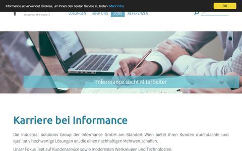 Screenshot of Jobs Page informance.at - Jobs und Karierre - Informance IT - captured June 11, 2016