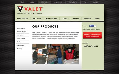 Screenshot of Products Page valetcustom.com - About Valet's Custom Cabinets, Closets and More! - captured Oct. 27, 2014
