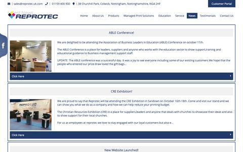 Screenshot of Press Page reprotec.uk.com - Colour Photocopiers   Document Management   Reprotec Nottingham - captured Oct. 18, 2018