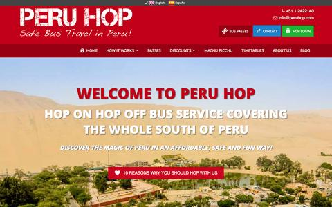 Screenshot of Home Page peruhop.com - Peru Hop - Peru's Only Hop On Hop Off Service! - captured July 20, 2015