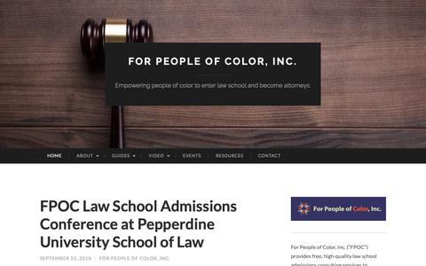 Screenshot of Home Page forpeopleofcolor.org - For People of Color, Inc. | Empowering people of color to enter law school and become attorneys. - captured Oct. 10, 2018