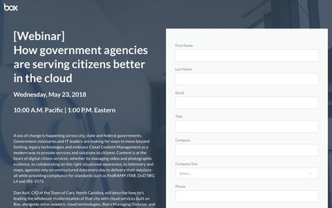 Screenshot of Landing Page box.com - How government agencies are serving citizens better in the cloud - captured May 21, 2018