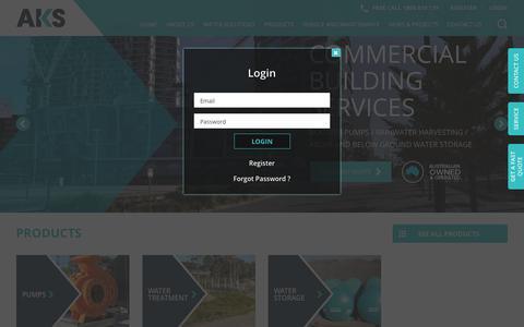 Screenshot of Login Page aksindustries.com.au - HOME - AKS Industries - captured July 28, 2018