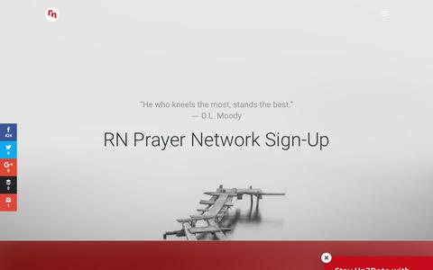 Screenshot of Signup Page revivenations.org - RN Prayer Network - captured Sept. 23, 2018