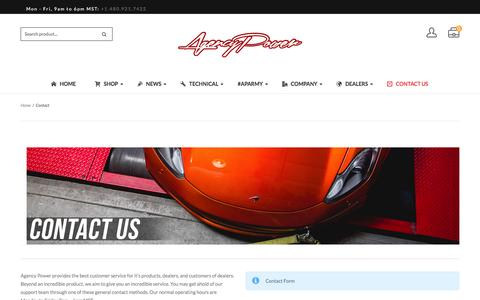 Screenshot of Contact Page agency-power.com - Contact - Agency Power - captured July 25, 2016