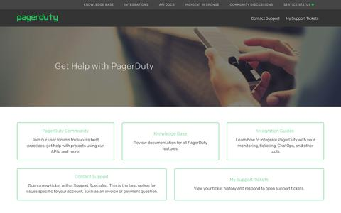 Screenshot of Support Page pagerduty.com - PagerDuty Support - captured March 7, 2018
