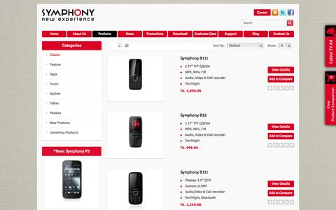 Screenshot of Products Page symphony-mobile.com - Classic - captured Sept. 19, 2014
