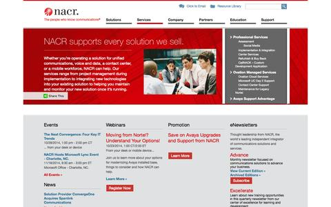 Screenshot of Services Page nacr.com - Services - Unified Communications, Voice and Data, Contact Center and More. - NACR - captured Oct. 10, 2014