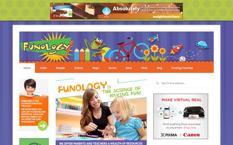Screenshot of Home Page funology.com - Crafts, Projects, Science Experiments, and Recipes for Moms with Young Children - Funology - captured Sept. 18, 2014