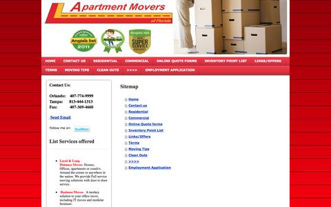 Screenshot of Site Map Page myapartmentmovers.com - Apartment Movers Orlando, Longwood, Winter Park, Altamonte Springs - Orlando Apartment Movers - captured Oct. 4, 2014