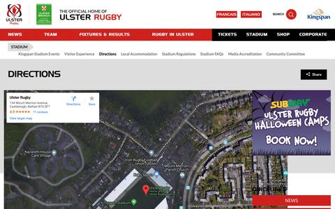 Screenshot of Maps & Directions Page ulsterrugby.com - Ulster Rugby | Directions - captured Oct. 19, 2018