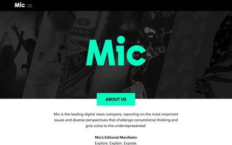 Screenshot of Contact Page mic.com - About Us - Mic - captured Dec. 11, 2018