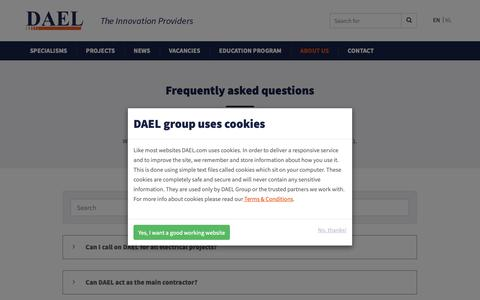 Screenshot of FAQ Page dael.com - Frequently asked questions - captured Oct. 7, 2018