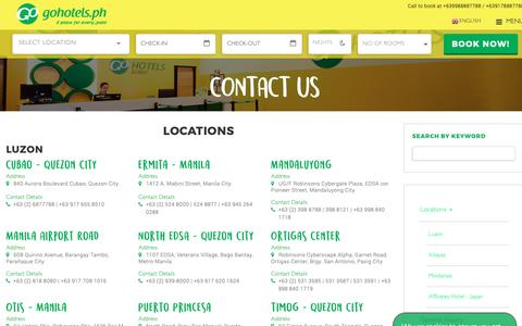 Screenshot of Contact Page Locations Page gohotels.ph - Contact Us | Go Hotels - captured Oct. 25, 2018