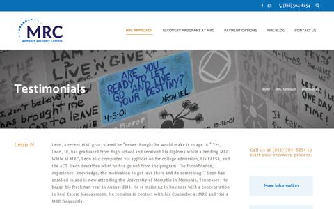 Screenshot of Testimonials Page memphisrecovery.com - Testimonials from People in Recovery – Memphis Recovery Centers - captured Oct. 18, 2017