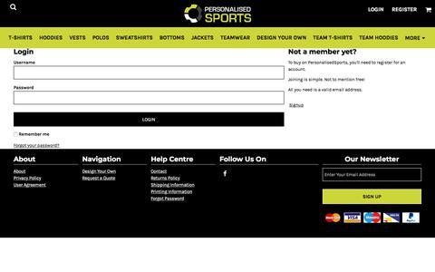 Screenshot of Login Page personalisedsports.com - Login personalisedsports - captured July 17, 2018