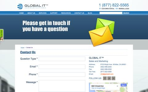 Screenshot of Contact Page globalit.com - Global IT CONTACT INFORMATION - captured Sept. 27, 2014