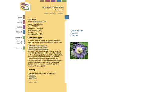 Screenshot of Contact Page Support Page bioneurix.com - BioNeurix™ Corporation - Contact Us - captured Sept. 30, 2014