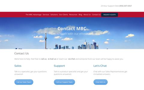 Screenshot of Contact Page mbccs.com - Contact MBC | MBC Managed IT Services Toronto and GTA - captured Feb. 26, 2020