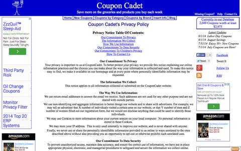 Screenshot of Privacy Page couponcadet.com - Coupon Cadet - Privacy Policy - captured Sept. 23, 2014