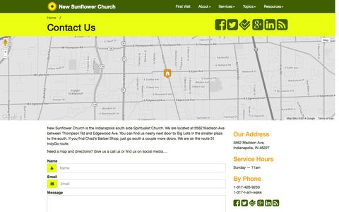 Screenshot of Contact Page newsunflowerchurch.org - Contact Us - Contemporary Spiritualists - New Sunflower Church - Indianapolis, Indiana 46227 - captured Oct. 9, 2014