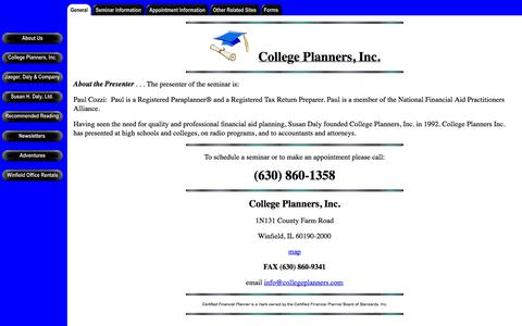Screenshot of Home Page collegeplanners.com - College Planners, Inc. - captured Oct. 6, 2014