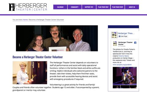 Screenshot of Signup Page herbergertheater.org - Become a Herberger Theater Center Volunteer – Herberger Theater Center - captured Nov. 10, 2018